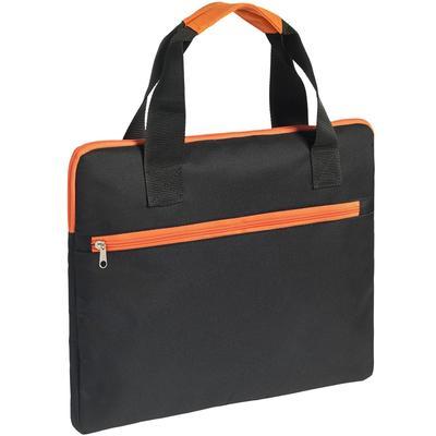 Конференц-сумка полиэстер черная/оранжевая (30x2x38 см)