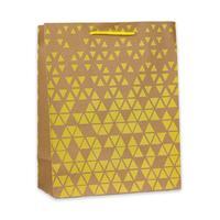Пакет подарочный из крафт-бумаги Желтые треугольники  (26.4х32.7х13.6 см)