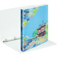 Папка на 4-х кольцах Attache Selection Travel 35 мм голубая с рисунком до 250 листов (пластик 0.55 мм)