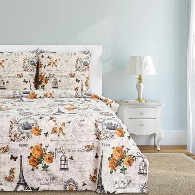 Постельное белье Этель Парижские сезоны (2-спальное с европростыней, 2 наволочки 70x70 см, бязь)