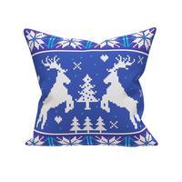 Подушка декоративная новогодняя Dorothy's Home Олени 40х40 см ШСВ/габардин синяя