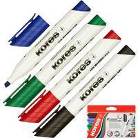 Набор маркеров для досок Kores 20845 4 цвета (толщина линии 3-5 мм)