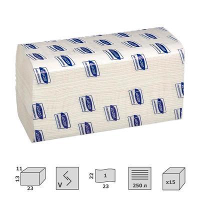 Полотенца бумажные листовыев Luscan Professional V-сложения 1-слойные 15 пачек по 250 листов (арт.601117)