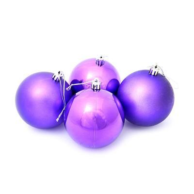 Набор елочных шаров пластик фиолетовый (8 см, 4 штуки в упаковке)