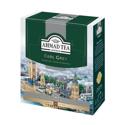 Чай Ahmad Earl Grey черный с бергамотом 100 пакетиков