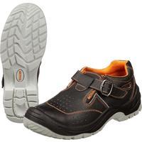 Полуботинки с перфорацией (сандалии) Мистраль комбинированная кожа черные с металлическим подноском размер 41