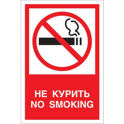 Знак безопасности Запрещается курить! V51 (200х150 мм, пластик)