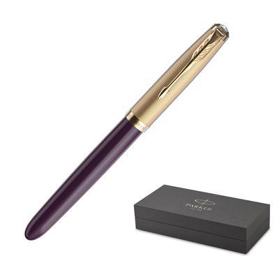 Ручка перьевая Parker 51 Plum цвет чернил черный цвет корпуса золотистый (артикул производителя 2123516)