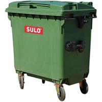 Уценка. Контейнер-бак мусорный 660 л пластиковый на 4-х колесах с  крышкой зеленый