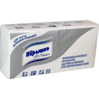 Салфетки бумажные Перышко 33x33 см белые 2-слойные 100 штук в упаковке