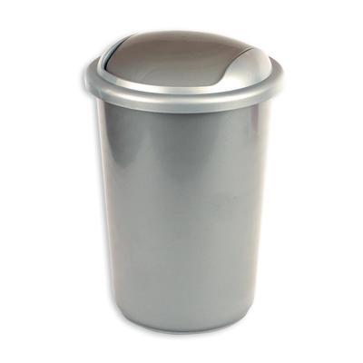 Ведро для мусора с крышкой-вертушкой Uniplast 12 л пластик серое (25х38 см)