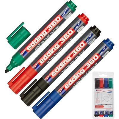 Набор маркеров для белых досок Edding e-360/4S 4 цвета (толщина линии  1.5-3 мм) круглый наконечник