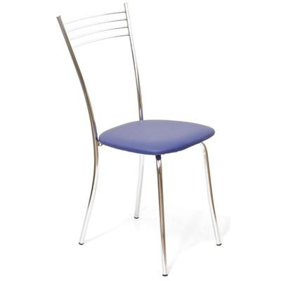 Стул для столовых Бистро синий (кожзаменитель/хром)