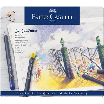 Карандаши цветные Faber-Castell Goldfaber 24 цвета в металлической упаковке
