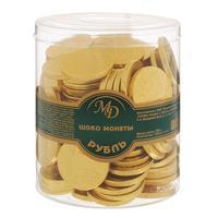 Шоколад порционный Монеты в банке Рубль (120 штук по 6 г)
