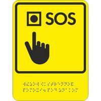 Знак безопасности Знак обозначения кнопки вызова экстренной помощи ТП8 (200х150 мм, пластик, тактильный)