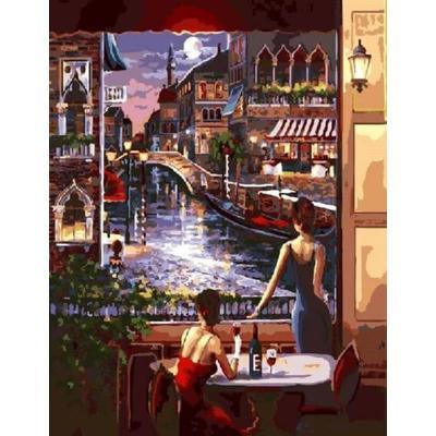 Картина по номерам на холсте Цветной Ночная Венеция 40x50 см