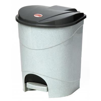 Ведро для мусора с педалью М-пластика 19 л пластик серое (30.5х30.5х39 см)