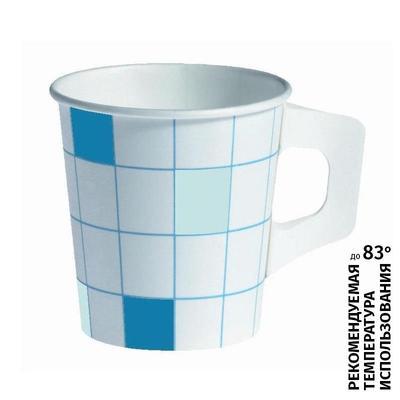 Чашка одноразовая Polarcup бумажная белый/голубой 175мл 80 штук в упаковке