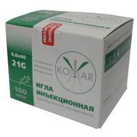 Игла инъекционная Комар 21G (0.8х40 мм, 100 штук в упаковке)