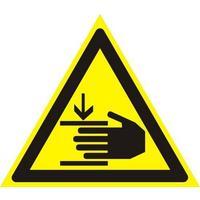 Знак безопасности Осторожно! Возможно травмирование рук W27  (200х200 мм, пленка ПВХ)
