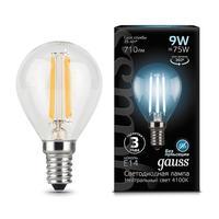 Лампа светодиодная Gauss LED Filament 9 Вт E14 шарообразная 4100 K нейтральный белый свет