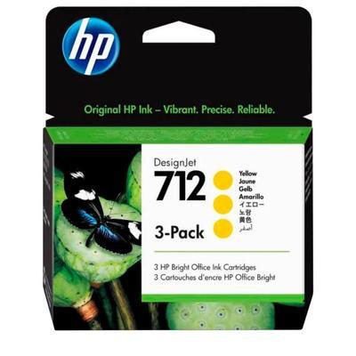 Картридж струйный HP 712 3ED79A желтый оригинальный (3 штуки в упаковке)