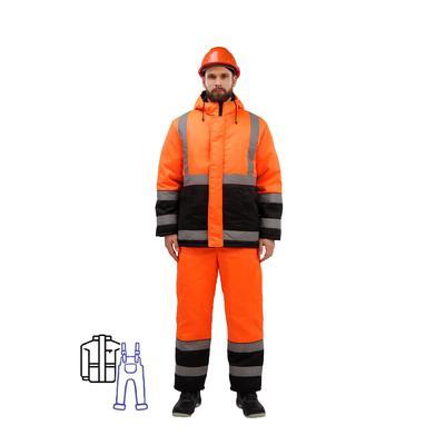 Костюм рабочий зимний мужской зд01-КПК с СОП оранжевый/черный (размер 60-62, рост 158-164)