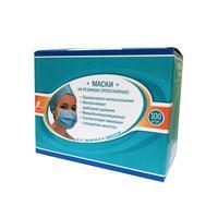 Маска медицинская одноразовая Гекса Иволга 3х-слойная голубая на резинке (100 штук в упаковке)