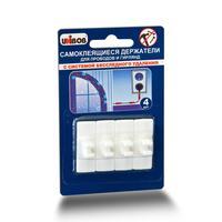 Держатели самоклеящиеся для проводов Unibob удаляемые белые нагрузка до 300 г (4 штуки в упаковке)