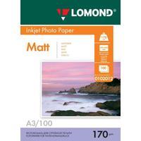 Фотобумага для цветной  струйной печати Lomond двусторонняя (матовая, А3, 170 г/кв.м, 100 листов, артикул производителя 0102012)
