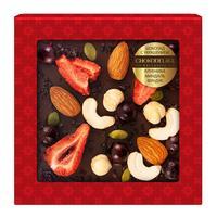 Шоколад подарочный Chokodelika темный с украшением из клубники/миндаля и фундука 75 г