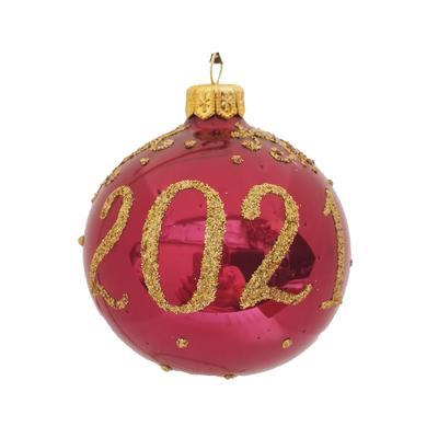 Новогодний шар 2021 красный/золотистый стеклянный 8.5 см