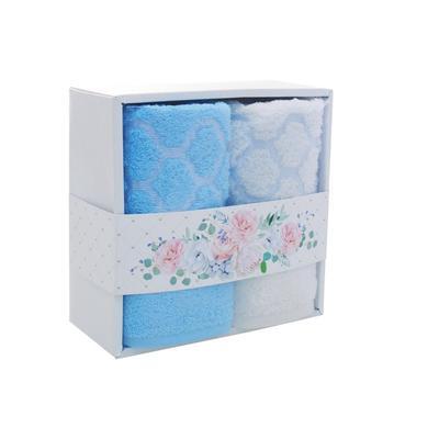 Набор полотенец махровых Дрезден 50х80 см 2 штуки 400 г/кв.м голубое/белое
