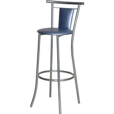 Стул барный Отель бар голубой глянцевый (искусственная кожа/серебристый металлик)