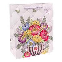 Пакет подарочный ламинированный Букет из разноцвет цветов (26.4х32.7х13.6 см)