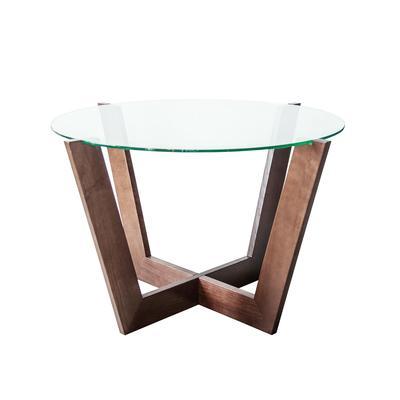 Стол журнальный Оникс-10 (стекло прозрачное/венге, 830х830х510 мм)