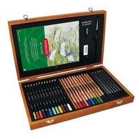 Набор карандашей и аксессуаров Derwent Academy 34 предмета в деревянной упаковке