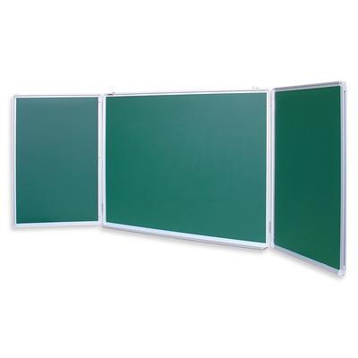 Доска магнитно-меловая трехсекционная Attache 100x300 см лаковое покрытие темно- зеленая