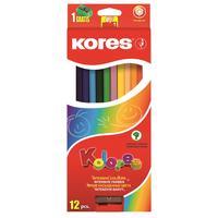 Карандаши цветные Kores 12 цветов шестигранные с точилкой