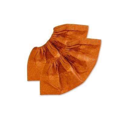 Бахилы одноразовые ламинированные с 2-ой резинкой  бело-оранжевые EleGreen (250 пар в упаковке)