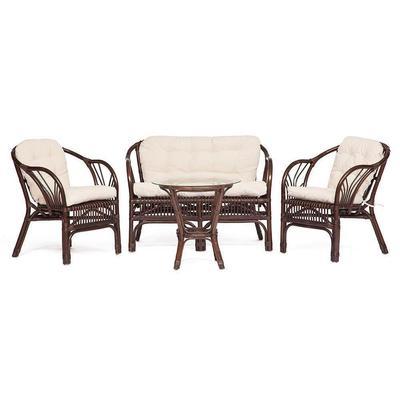 Набор мебели New Bogota с подушками грецкий орех (стол, 2 кресла, диван)