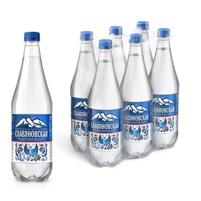 Вода минеральная Славяновская газированная 1 л (6 штук в упаковке)