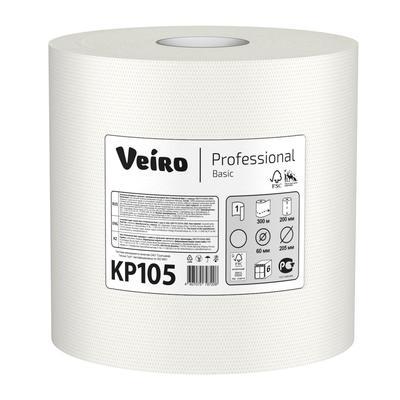 Полотенца бумажные в рулонах с центральной вытяжкой Veiro Professional C1 Basic 1-слойные 6 рулонов по 300 метров (артикул производителя KP105)