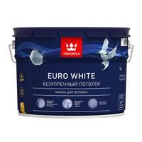 Краска для потолка для сухих помещений Tikkurila Euro White белая глубокоматовая 9 л