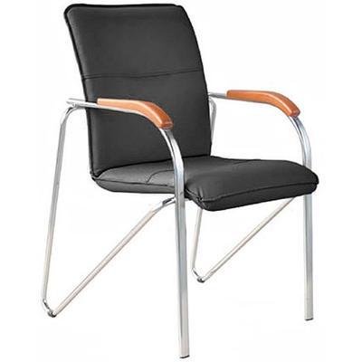 Конференц-стул Samba silver черный (искусственная кожа/вишня/металл серебристый)