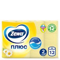 Бумага туалетная Zewa Плюс 2-слойная желтая с ароматом ромашки (12 рулонов в упаковке)