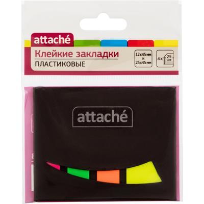 Клейкие закладки Attache пластиковые 4 цвета по 25 листов 12х45 мм в плотной обложке