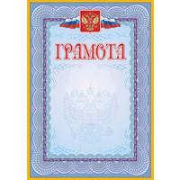 Грамота А4 140 г/кв.м 40 штук в упаковке (голубая рамка, герб, триколор, КЖ-162уп)