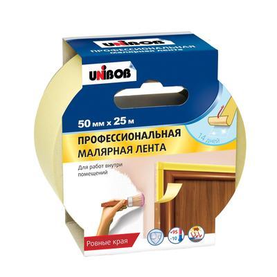 Клейкая лента малярная для внутренних работ Unibob желтая 50 мм х 25 м (профессиональная)